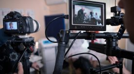 Video cameras on the set, backstage movie scenes