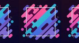 Abstract modern gradient blob lines diagonal frame.